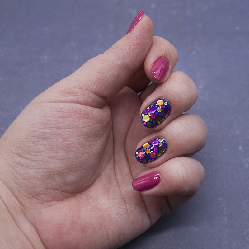 Дизайн с камифубуки - sally hansen - fuchsia bling bling, china glaze - man hunt, глиттер с aliexpress