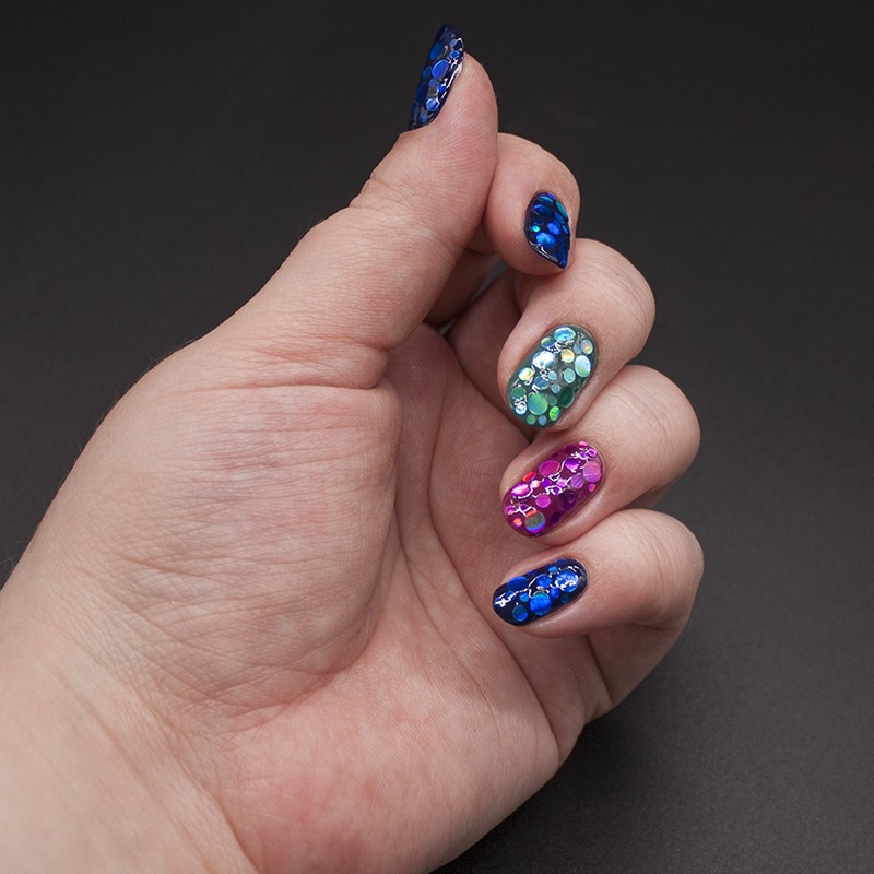anny - denim on the rocks, essie - big spender, china glaze - exotic encounters, глиттер с али