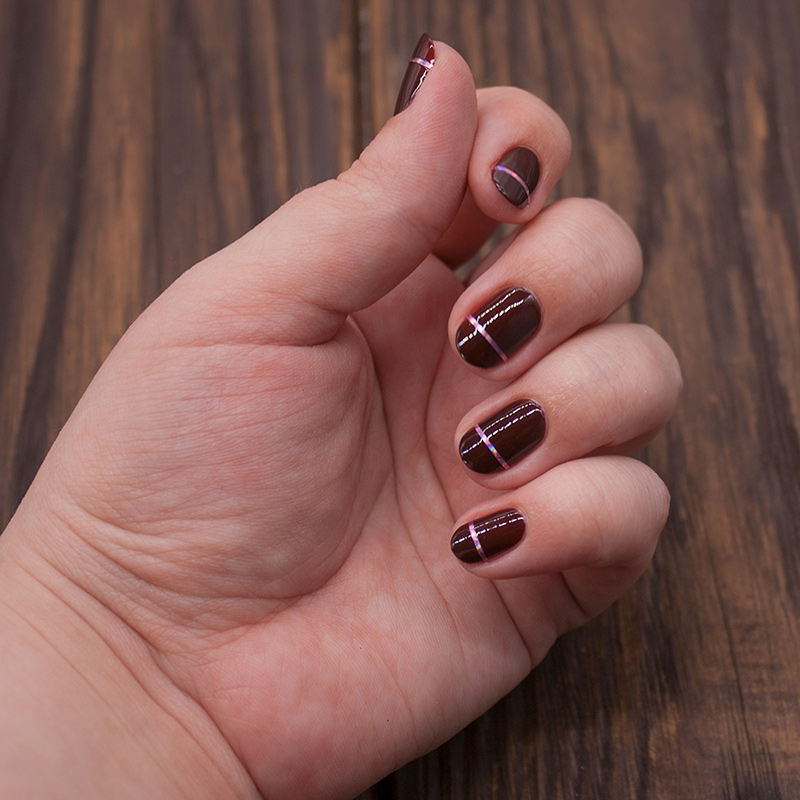essie - chocolate cakes, nail striping tape