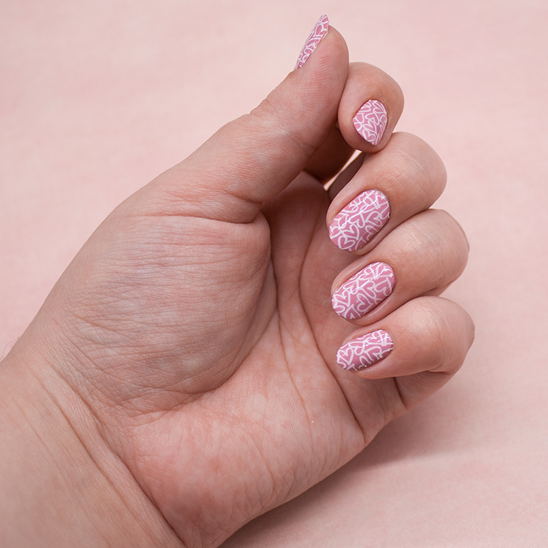 china glaze - pink-ie promise, konad - white, плитка born pretty - a01-1-22