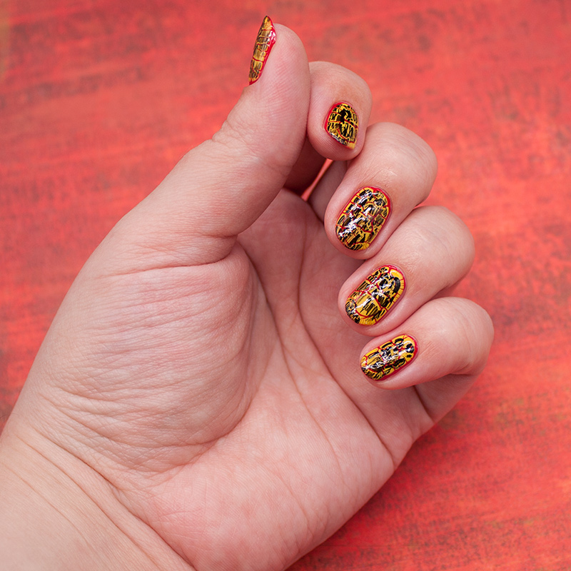 opi - coca-cola red, naillook - sunflower bouquet, opi - black shatter