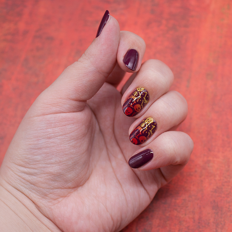 china glaze - purr-fect plum, dance legend stamping polish - red, dance legend stamping polish - yellow, born pretty - BP-L057