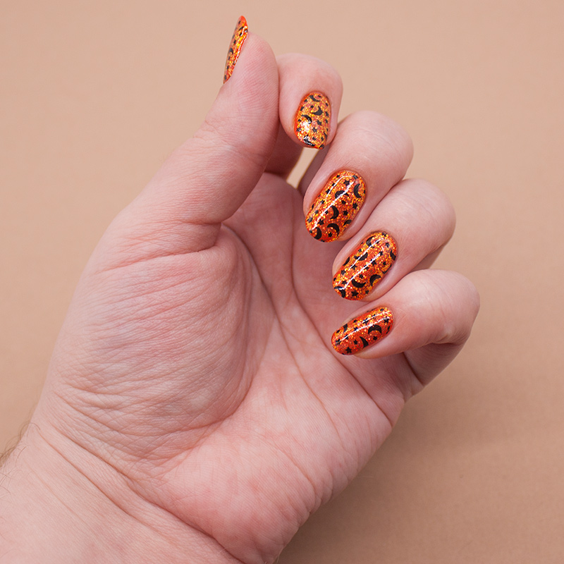 jessica - orange you glad to see me, глиттер с али, konad - black, moyra stamping plate - 59 galactica