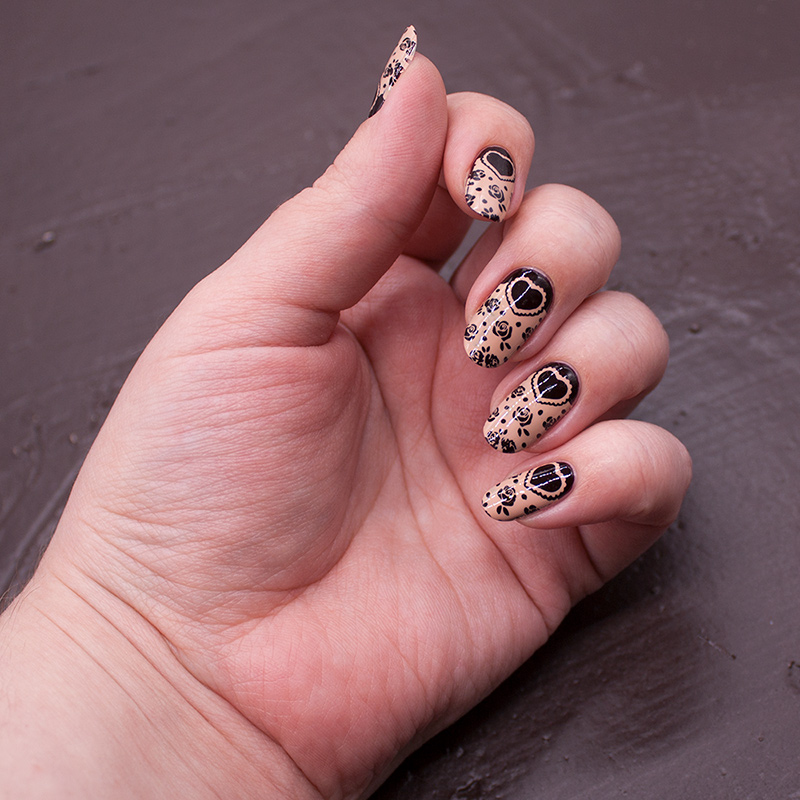 essie - wicked, dance legend stamping polish - beige, moyou london - princess 19