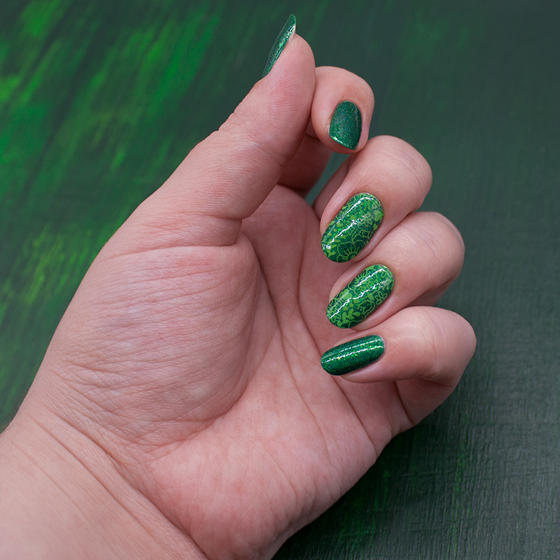 tips - silva, dance legend stamping polish - green, moyou london - princess 19