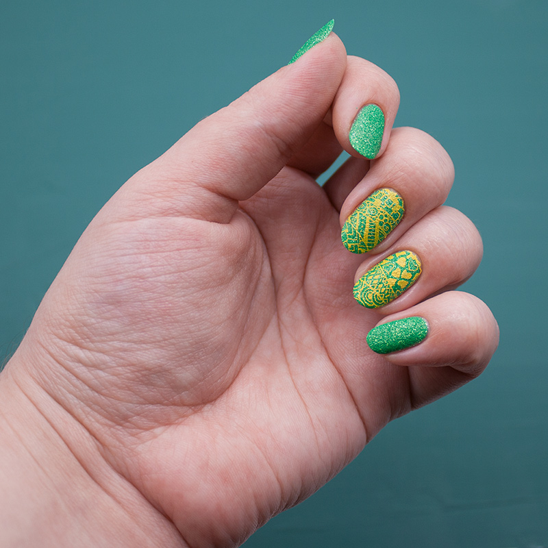 ga-de - green sugar, dance legend stamping polish - yellow, moyou london - doodles 2