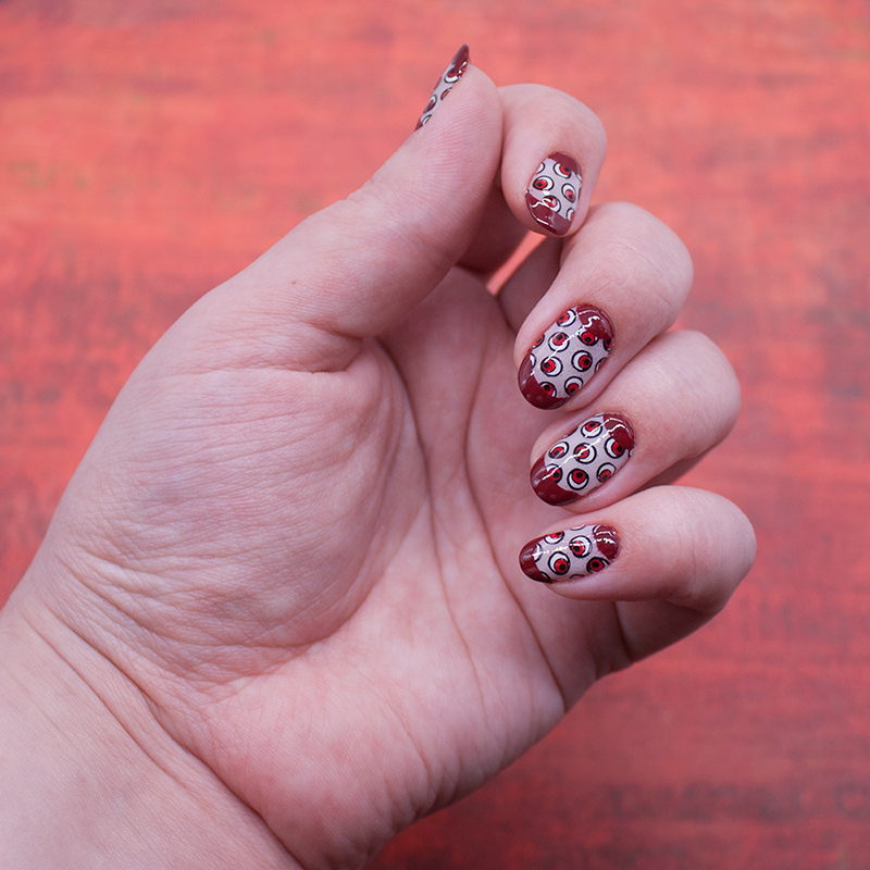 essie - ballet slippers, opi - lost on lombard, opi - coca-cola red, misa - kiss the bride, konad - black, moyou london - festive 44, трафареты rocknailstar