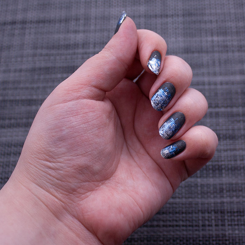 china glaze - stone cold, dance legend stamping polish - silver, dance legend stamping polish - metallic blue